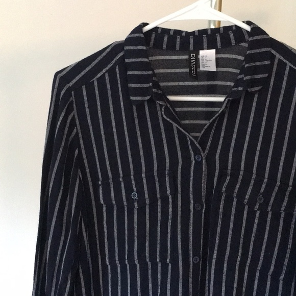 37de5a9e1b H&M Tops   Hm Divided Vertical Striped Buttondown Tunic   Poshmark